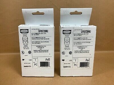 2X Hubbell GFRST20WU 20 Amp 125V Commercial/Residential Self Test GFCI White NIB
