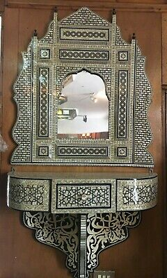 Antique Egyptian Carved Wood Wall Shelf with Mirror,  Wall Console