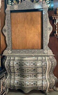 Antique Egyptian Wood Sideboard, Inlaid Mother of Pearl with Wall Mirror Frame