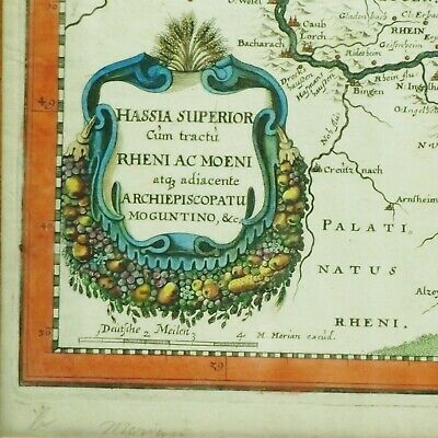 Hassia Superior Hessen-Karte with Merian 1646 Framed Country Map 1Z