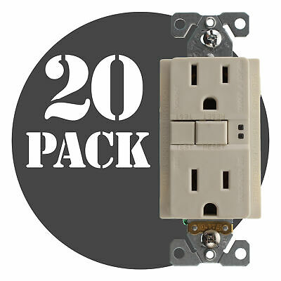 Hubbell Gfrst15Laz Commercial Gfci Receptacle, 15A, 120V, Lt. Almond, (20-Pack)