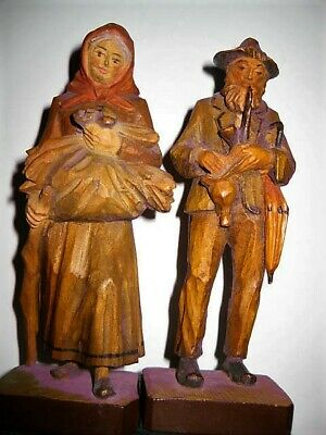 "W.u.m Heinzeller Black Forest 7-7.5"" Carved Wood Figures-Man & Women Epc #2459"