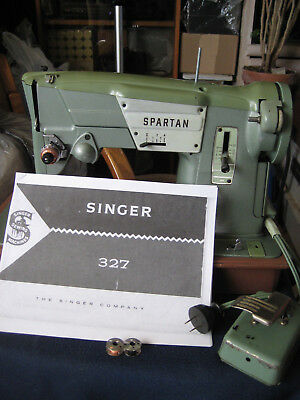 "PORTABLE 1960's Singer ""Spartan"" Sewing Machine w/PRINTING Manual"