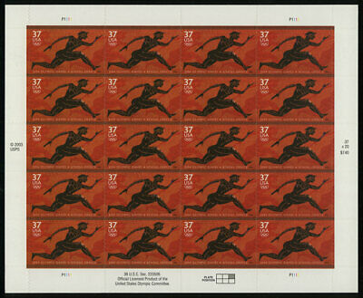US #3863 37¢ Summer Olympic Games, Athens, Greece Sheet of 20 VF NH MNH
