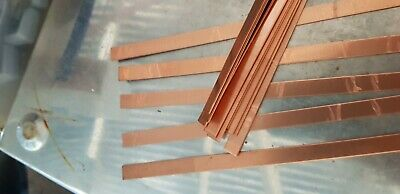 Copper strip 15 mm x 1 mm x 30 cm plastic peelaway mirror side  99.99% pure