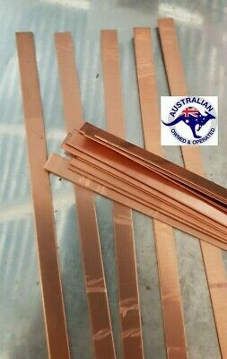 Copper strip 10 mm x 1 mm x 30 cm plastic peelaway mirror side  99.99% pure