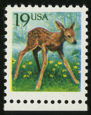 US #2479a 19¢ Flora and Fauna Fawn Untagged Error Tagging Omitted VF NH MNH