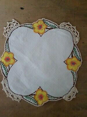 Pretty Vintage linen Hand Embroidered Stylised Yellow Poppies & Crochet Doily