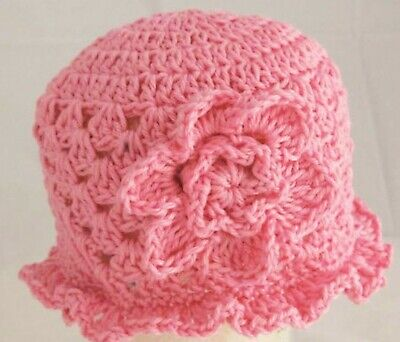 HAND CROCHETED BABY GIRLS PINK MERINO HAT knit shower gift romany bling vintage