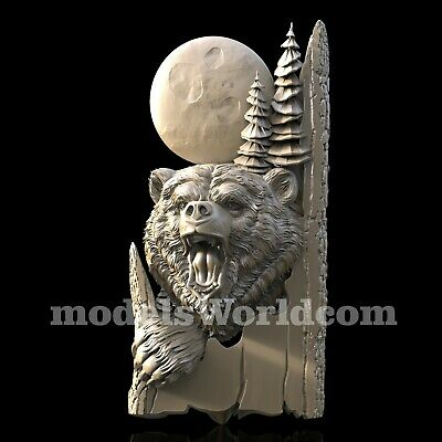 3D Model STL CNC Router Artcam Aspire American Bear Tree Panel Cut3D Vcarve