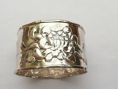 Rare Signed Onc Antique Chinese Export Solid Silver Chrysanthemum Napkin Ring