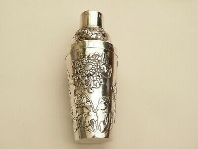 Fab Rare Signed Tuck Chang Antique Chinese Export Solid Silver Cocktail Shaker