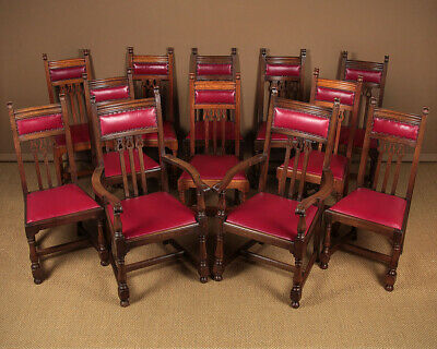 Antique Set of Twelve Arts & Crafts Style Oak Dining Chairs c.1910.