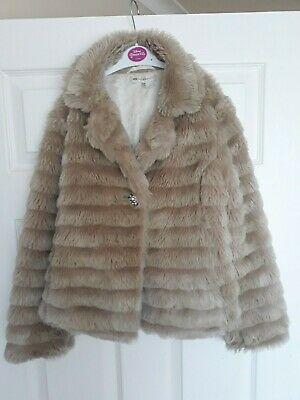 Girls Marks and Spencer Foux Fur Jacket , 9-10 years, VGC