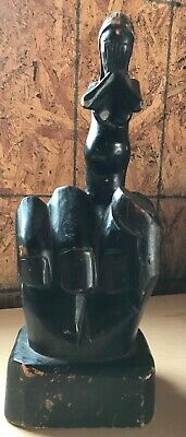 Vintage Carved Wood Hand Middle Finger Flipping the Bird Wooden Pregnant Woman