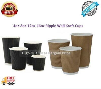 DISPOSABLE CUPS KRAFT STRONG RIPPLE WALL PAPER COFFEE TEA CUPS 4/8/12/16oz LIDS