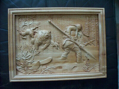 Bear hunting,sculpture ,Baso  relief  ,wood  carving