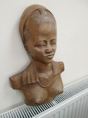 Vintage Large Carved Wooden Bust Of Woman   Peru Indonesian Balinese