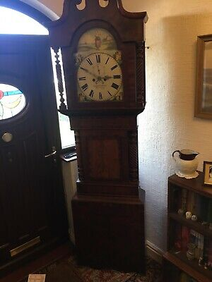 Antique 1880s Long-case Grandfather Clock with Twist Pillars