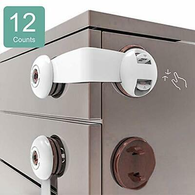Cabinet Locks Child Safety, No Drill Baby Proof Drawer Latches, 12Pcs Adhesive