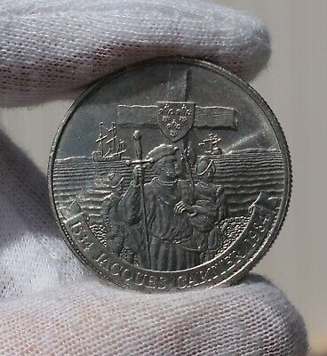 1984 Canada $1 One Dollar Coin; Jacques Cartier; Gaspé; Double Date 1534-1984