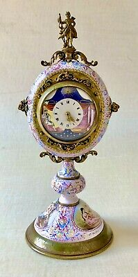 Antique Austrian Renaissance Revival Enamel on Copper Clock with Bronze Ormolu