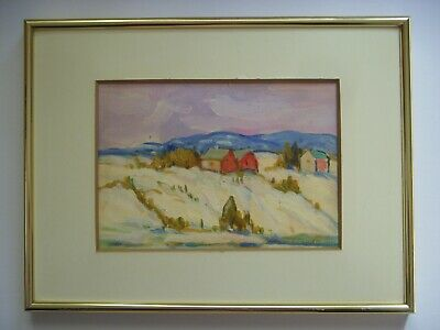 PETER STOYAN STOYANOFF  CANADIAN FARM  IN WINTER LANDSCAPE OIL PAINTING 1960s