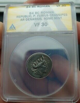 ANACS Ancient Roman Republic Coin P.Furius Crassipes 84 BC Beautiful !!!
