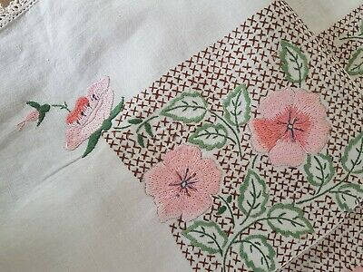 Vintage Heavily Hand Embroidered Supper Cloth~Tablecloth - Dogwood Pink Roses