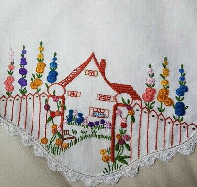 Vintage Cottage - HOLLYHOCKS & Grub Roses Hand Embroidered Centrepiece Doily