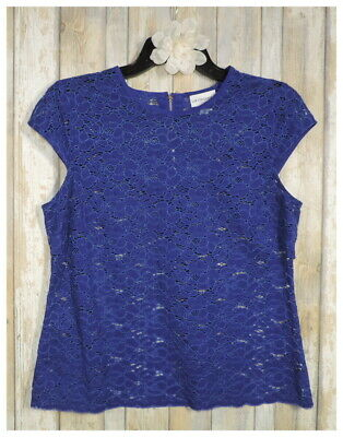 Women's LIZ CLAIBORNE Blue Cap Sleeve Sheer Lace Top Shirt Size PM Petite Medium