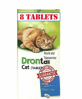 Drontal for Cats Kittens 8 Tablets Dewormer Roundworm Tapeworm Allwormer