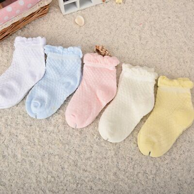 5 Pairs/Lot Baby Socks Kids Summer Cotton Candy Colors Lace Ruffle Short Socks