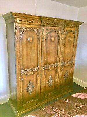 Antique Oak Triple Fitted Wardrobe circa 1920's