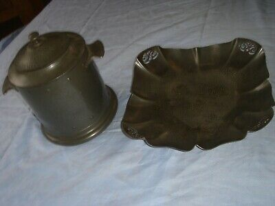 arts and crafts hammered pewter biscuit barrel and fruit bowl plate dish