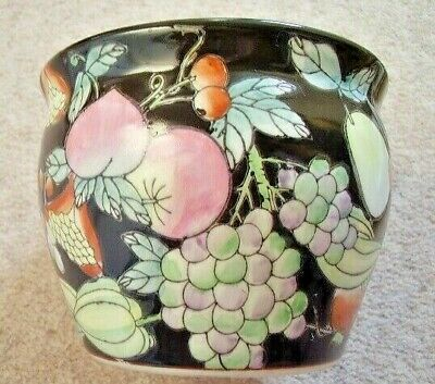 Antique Chinese porcelain  black fruits flower pot,perfect condition