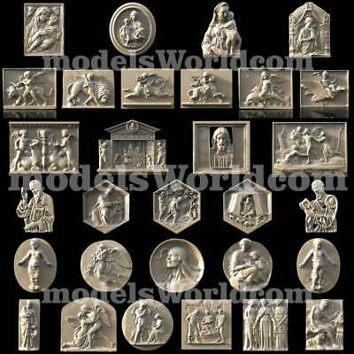 30 3D Models STL CNC Router Artcam Aspire Antique Baroque Panel set Cut3D Vcarve