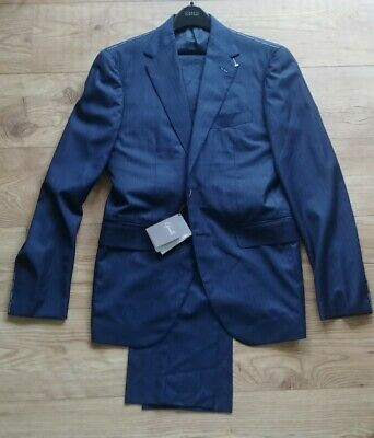 Cifonelli Suit Navy Worsted Chalk Stripe Single Breasted Size IT50 UK40 BNWT