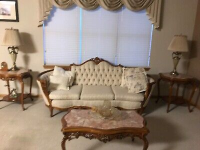 6 piece french provincial living room 70 + years old. In very good condition