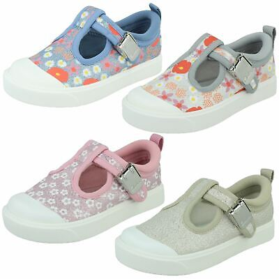Girls Clarks 'City Dance T' Pink Or Silver Casual T-Bar Canvas Pumps