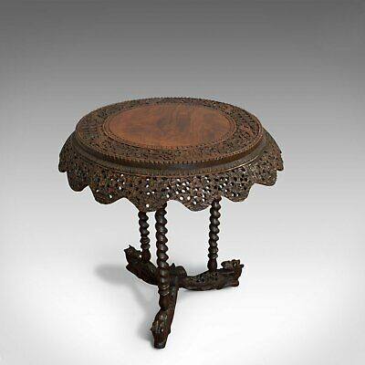 Antique Centre Table, Asian, Teak, Lamp, Occasional, 19th Century, Circa 1880
