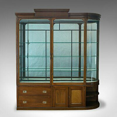 Large Antique Display Cabinet, Mahogany, Glass, Retail Showcase, Victorian