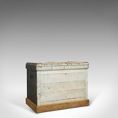 Antique Travel Trunk, English, Pine, Zinc Lined, Carriage Chest, Victorian