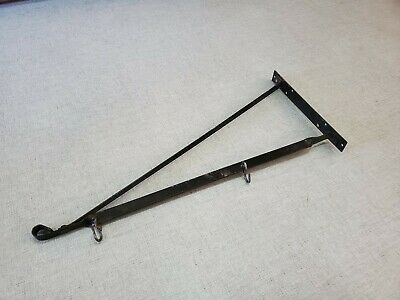 "Antique Vtg Wrought Iron 30"" Hanging Bracket For Porcelain  Enamel Trade Sign"