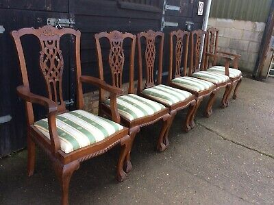Set of 6 Antique Georgian Style Solid Oak Carved Dining Chairs(4 plus 2 Carvers)