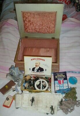 Vintage home made sewing box with 2 thread bobbins, cigar box of buttons, Etc.