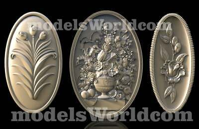 3 3D Models STL CNC Router Artcam Aspire Flowered Oval Panel set Cut3D Vcarve