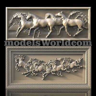 2 3D Models STL CNC Router Artcam Aspire Horses Running Panel set Cut3D Vcarve