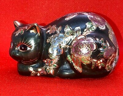 VINTAGE SMALL HAND DECORATED CLOISONNE CAT FIGURINE - 4 In X 2 In.  MINT!!