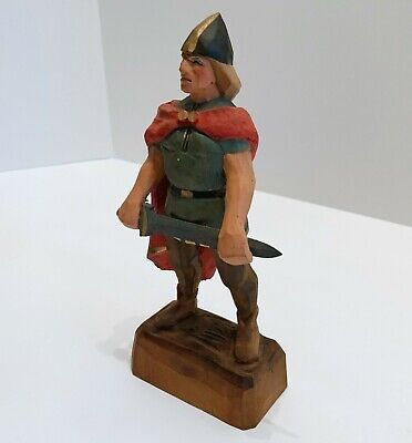 HENNING Norway Hand Carved Viking Man Warrior Vintage Signed Original EXCELLENT